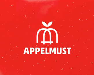 Appelmust logo design: A + M + apple fruit