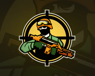 Military Soldier Gaming Mascot Logo Design