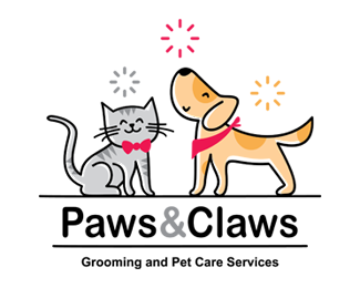 Paws and Claws Pet Care Logo for Sale
