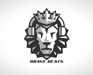 Awesome Brave Beats Lion Head Logo