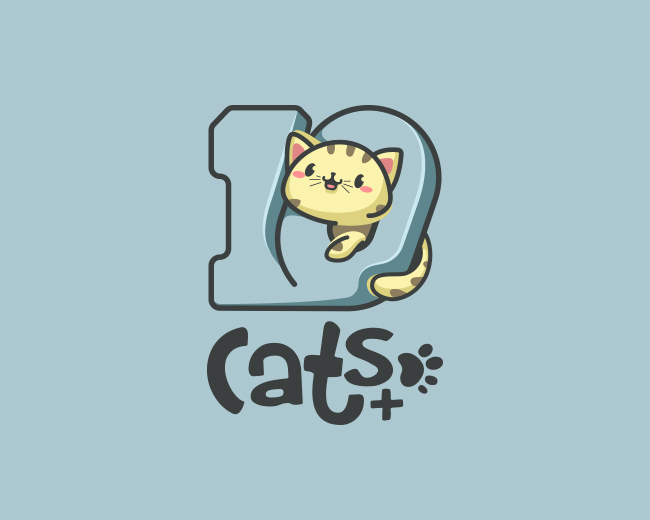 Kawaii cat logo for 10Cats.+
