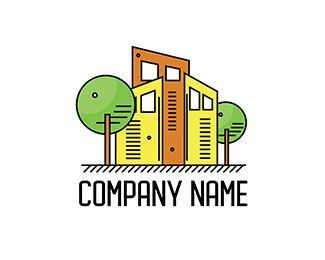 Construction logo with trees and buildings