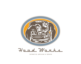 Hood Works Automotive Servicing Logo