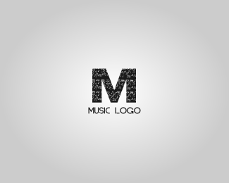 Music logo design letter M