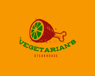 Vegetarian Steak House Restaurant Logo