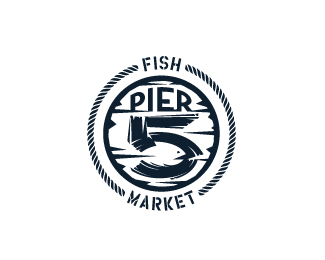 Pier 5 Fish Market - 1-color, minimal version