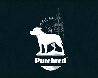 Purebred Staffordshire bull terrier Logo Badge
