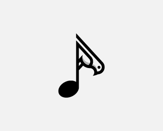 Bird music note logo