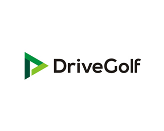 Drive Golf logo design, flag in negative space