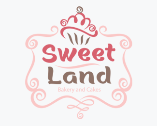 Sweet Land Bakery and Cakes Logos for Sale
