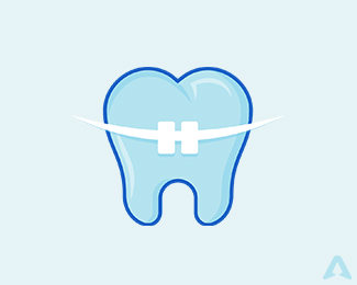 Dentist orthodontics braces logo