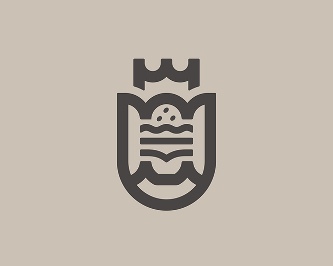 Burger on Shield 📌 Logo for Sale