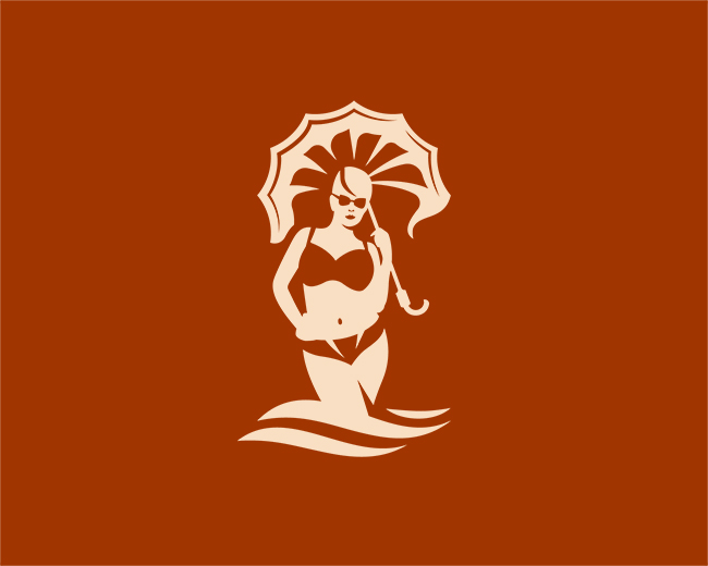 Girl With Umbrella On The Sea Logo