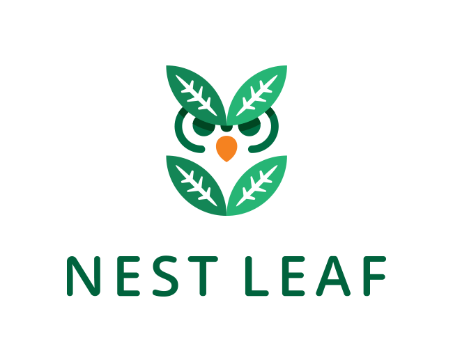 Nest Leaf - OWl Logo Design