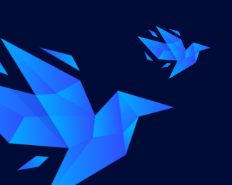 origami bird logo icon