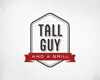 Tall Guy and a Grill Wordmark Shield
