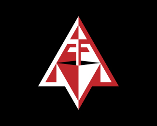 Letter T and F Triangles Logo