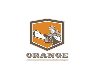 Orange Eco Sustainable Foresting Logo