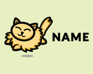 Jumping Fat Cat Cartoon Logo Design