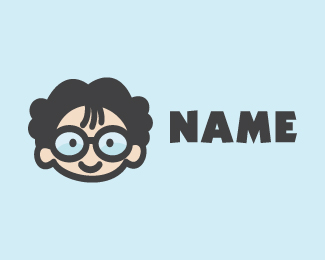 Geek Nerd Otaku Kid Cartoon Logo Design