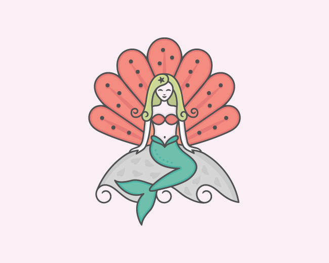 Colorful Mermaid Logo