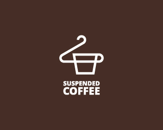 Suspended coffee logo