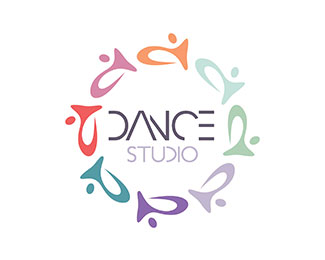 Colorful dance studio logo