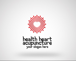 Health heart acupuncture logo template