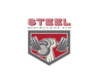 Steel Body Building Gym Logo