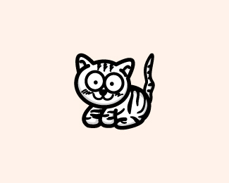 Black Stripe Cat Cartoon Logo Design
