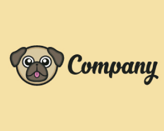 Pug Dog Head Mascot Logo Design