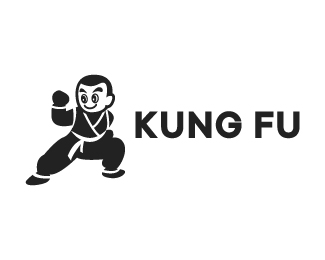 Chinese Kung Fu Kid Cartoon Logo design