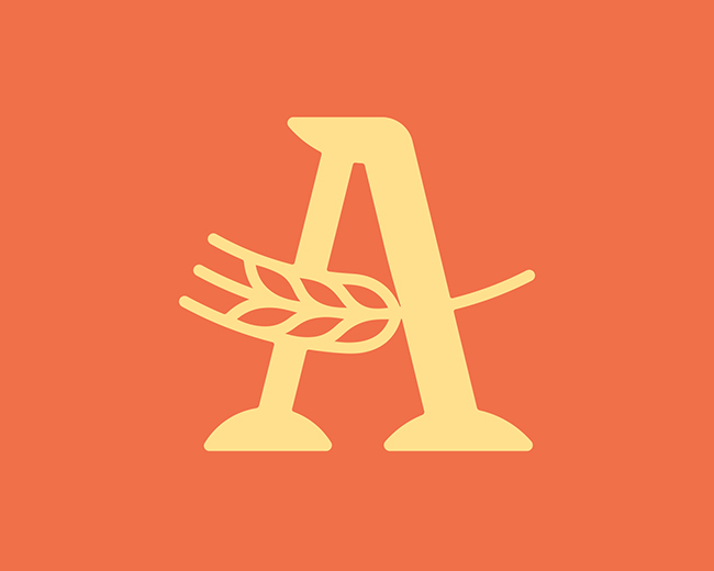 Letter A Wheat 📌 Logo for Sale