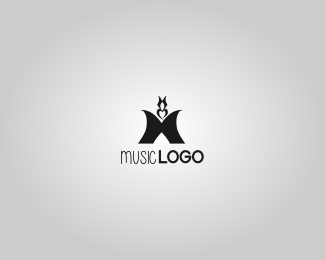 M letter logo design for music