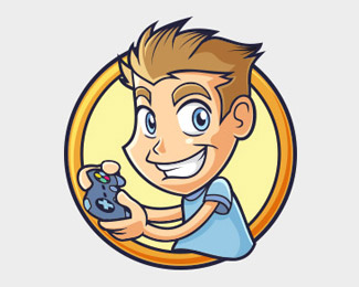 Gamer Kid with Joystick Logo