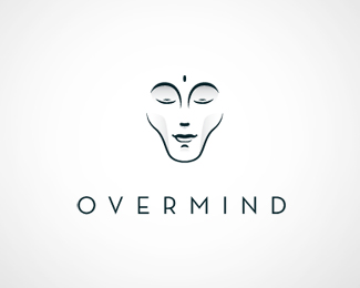 Overmindclean and simple logo face, oriental shape