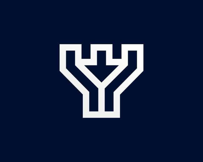 Letter Y Castle Arrow Logo