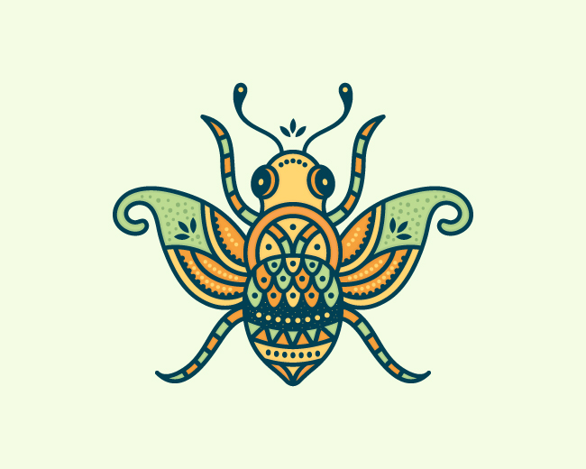 Colorful Stylized Bee Logo