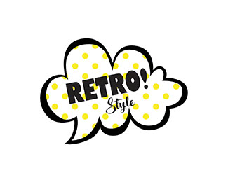 Retro Style Logo with cloud