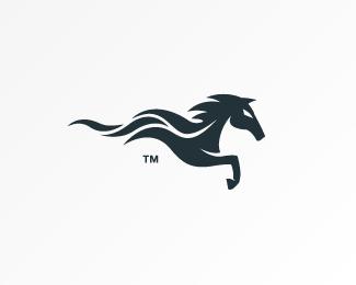 dark minimal wavy horse logo