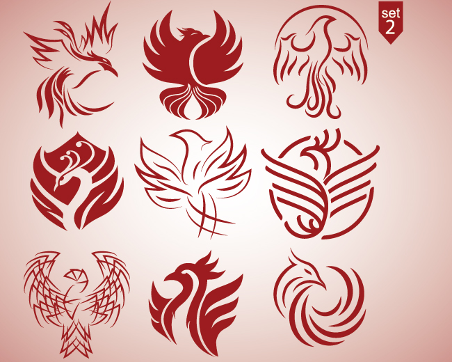 Phoenix logo design set 2