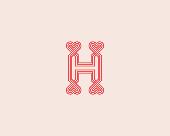 letter H with heart logo