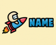 Rocket Driving Mascot Cartoon Logo Design