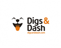 Digs & Dash logo design, cute dog smiling :)